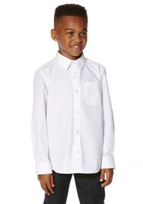 F&F School 2 Pack of Boys Easy Iron Long Sleeve Shirts 15-16 yrs White