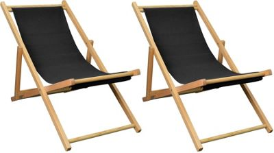 Pack of 2 Harbour Housewares Garden Deck Chairs - 3 Positions - Black