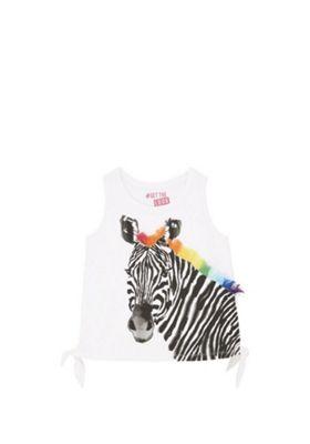 F&F Zebra Print Side Knot T-Shirt White 5-6 years