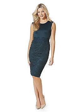 AX Paris Lace Overlay Scuba Bodycon Dress - Teal