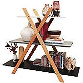 Avone - 3 Tier Wood Cross Frame Storage Shelf - White / Grey / Black