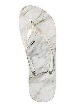 F&F Marble Flip Flops - White