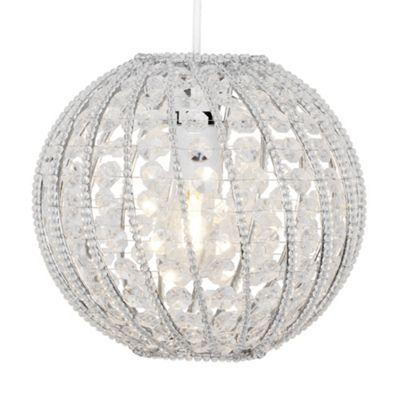 Bead Crystal Ball Ceiling Light Pendant Shade, Clear