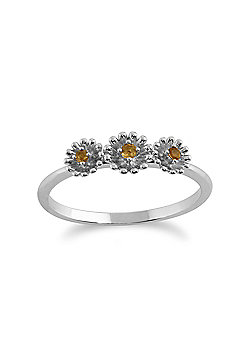 Gemondo Citrine Ring, 925 Sterling Silver 0.05ct Citrine Floral Ring