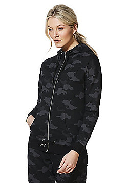F&F Active Camo Print Zip-Through Hoodie - Khaki