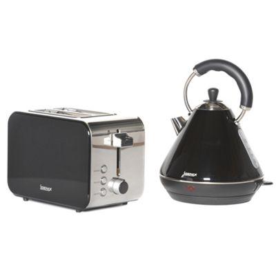 Igenix IGPK15 Breakfast Set Pyramid Kettle and 2 Slice Toaster - Black
