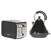 Igenix IGPK15 Breakfast Set Pyramid Kettle and 2 Slice Toaster - Black