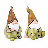 Set of Two Terracotta Garden Gnomes in Green Finish