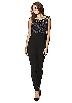 Mela London Lace Bodice Sleeveless Jumpsuit - Black