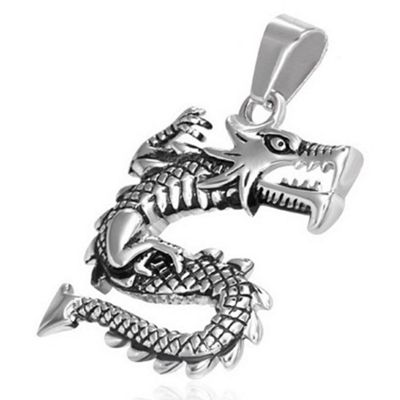 Urban Male Stainless Steel Detailed Dragon Pendant For Men
