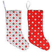 Red & White Star Fabric 43cm LED Christmas Stocking