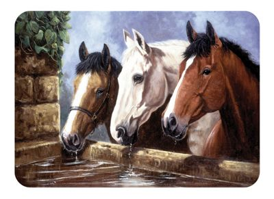 Tuftop 40cm x 30cm Worktop Saver, Three of a Kind Horses, Textured