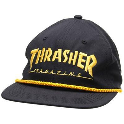 Thrasher Logo Rope Snapback Cap - Black/Yellow