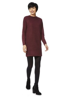 JDY Ripple Knit Jumper Dress XS Burgundy