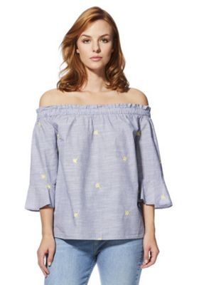 F&F Striped Embroidered Bardot Top Blue 14