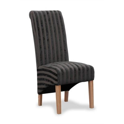 Pair of Krista Velvet Stripe Dining Chairs - Charcoal