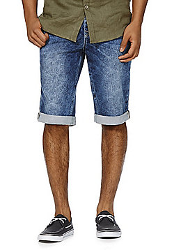 F&F Knitted Denim Shorts - Mid wash