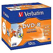 Verbatim DVD-R Recordable Disk Write-once Inkjet Printable Cased 16x 120min 4.7GB (Pack of 10)