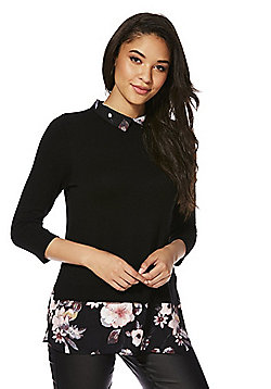 F&F Mock Shirt Layer Jumper - Black