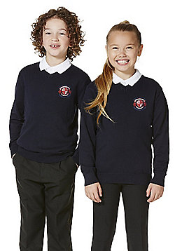 Unisex Embroidered V-Neck Cotton School Jumper with As New Technology - Navy