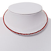 Thin Swarovski Crystal Choker Necklace (Hot Red)