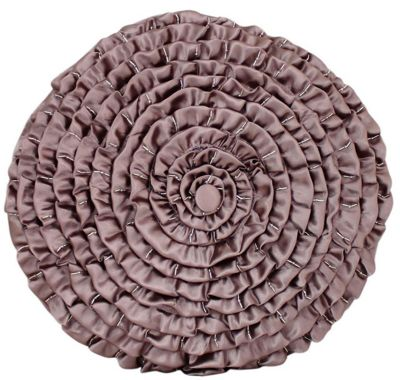 Mocha Satin Round Ruched Cushion Unique Stylish Comfortable