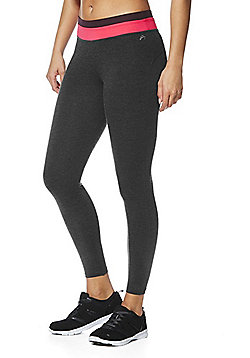 F&F Active Colour Block Waist Leggings - Grey