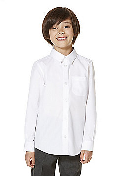 F&F School 5 Pack of Boys Easy Iron Long Sleeve Shirts - White