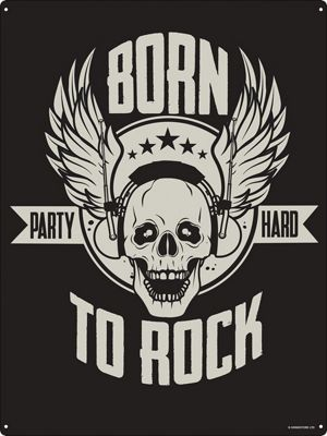Born To Rock Tin Sign 30.5 x 40.7cm