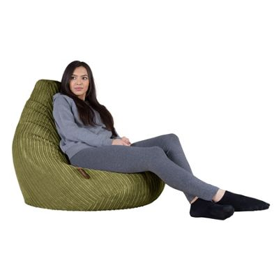 Lounge Pug® Highback Beanbag Chair - Cord Lime Green