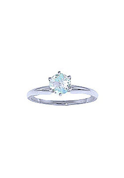 QP Jewellers 0.65ct Aquamarine Crown Solitaire Ring in 14K White Gold