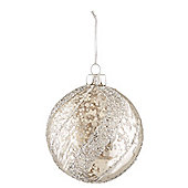 Silver Glitter Spiral Christmas Bauble