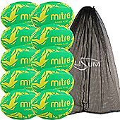 Mitre Sabre Rugby Ball 10 Pack with Mesh Bag Size 5 Green/Yellow