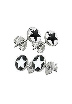 Urban Male Men's Two Pair Set Black & White Star Design Stud Earrings