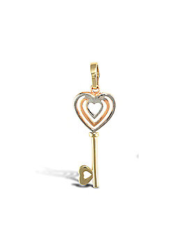Ladies Solid 9ct Yellow White and Rose Gold Key To My Heart Charm Pendant