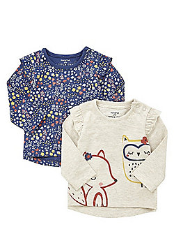 F&F 2 Pack of Woodland Print Long Sleeve T-Shirts - Multi
