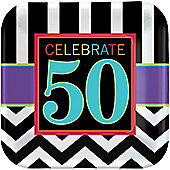 50th Birthday Plates - 23cm Paper Party Plates - 8 Pack