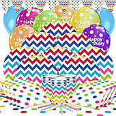 Rainbow Chevrons Party Pack - Deluxe Pack for 16