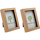 Light Wood Effect 4x6 Box Photo Frame - Standing & Hanging - Pack of 2