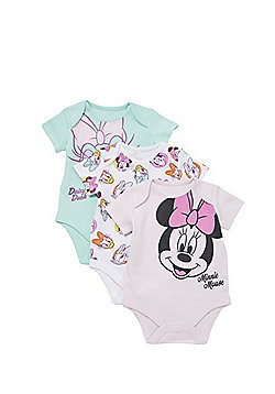 Disney 3 Pack of Short Sleeve Bodysuits - Pink/Mint
