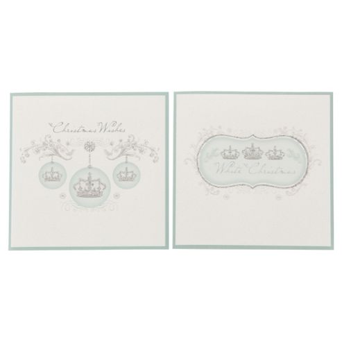 Tesco Crown Baubles Christmas Cards, 12 Pack