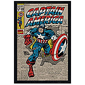 Captain America Black Wooden Framed A True Marvel Hero Poster