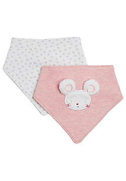 F&F 2 Pack of Furry Mouse and Floral Print Dribble Bibs - Pink & White