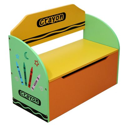 Kiddi Style Crayon Childrens Themed Wooden Toy Box & Bench - Green