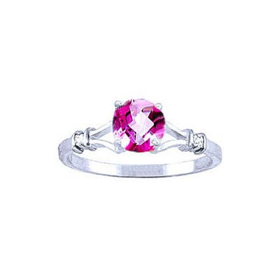 QP Jewellers Diamond & Pink Topaz Aspire Ring in 14K White Gold - Size L 1/2