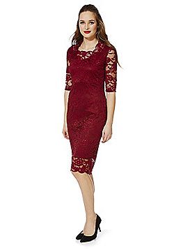 Feverfish Scalloped Lace Square Neck Bodycon Dress - Burgundy