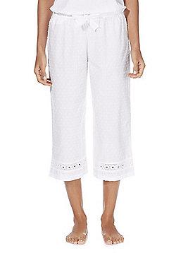 F&F Dobby Spot Cropped Lounge Pants - White