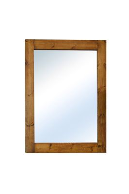 Large Solid Natural Wood Wall Mounted Mirror 4Ft X 3Ft2, 122Cm X 97Cm