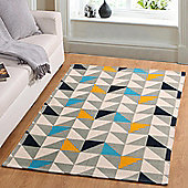 Homescapes Copenhagen Handwoven Blue, Yellow and Grey Geometric Style Scandi Printed Rug, 120 x 170 cm
