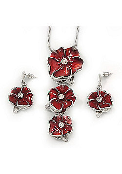 'Triple Flower' Red Enamel Diamante Necklace & Drop Earrings Set In Rhodium Plated Metal - 38cm Length (6cm extender)